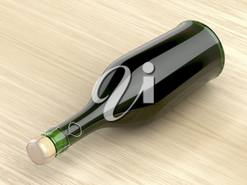 Sparkling wine bottle on wood table