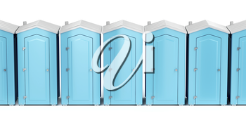 Row with portable plastic toilets on white background, front view