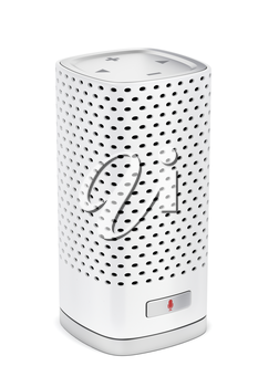 Smart speaker with integrated virtual assistant on white background