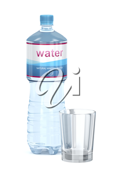 Water bottle and empty glass cup on white background