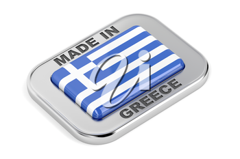 Made in Greece, shiny badge on white background