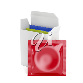 3D illustration of condoms on white background