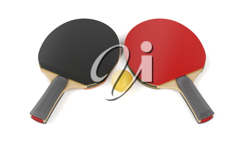 Table tennis equipment on white background