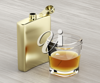 Golden hip flask and a glass of whiskey on wooden table