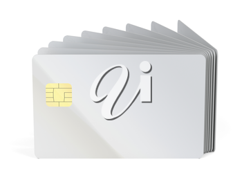Blank plastic cards with chip, can be used for telephone, bank or key cards