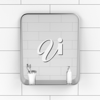 Bathroom mirror with two toothbrushes and liquid soap bottle on the tiled wall, front view