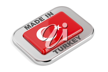 Shiny badge with text Made in Turkey with Turkish flag inside