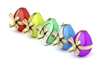 Colorful Easter eggs with golden ribbons on white background