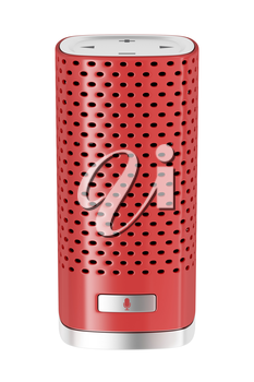 Voice commanded smart speaker with integrated virtual assistant. Isolated on white background.