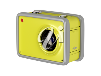 Action cam isolated on white background, 3D illustration