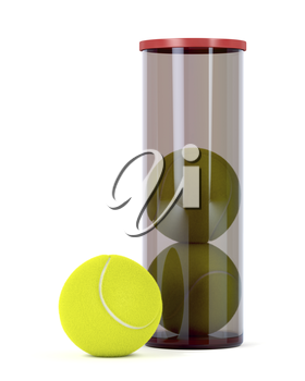 Set of three new tennis balls on white background