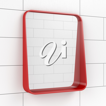 Red mirror in the bathroom, 3D illustration