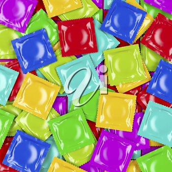 Group of different colored condoms, top view