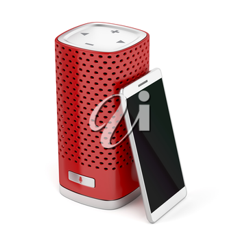 Red smart speaker and smartphone on white background