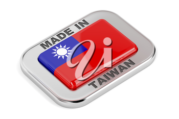 Made in Taiwan silver badge on white background