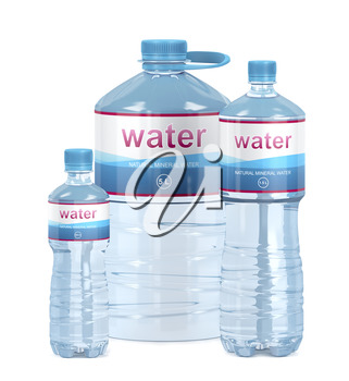 Water bottles with different sizes on white background