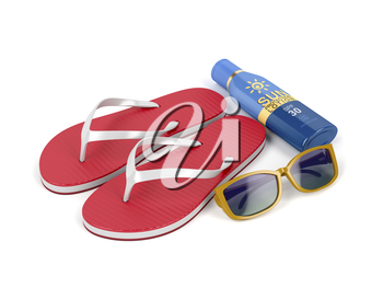 Flip-flops, sun cream and sunglasses on white background