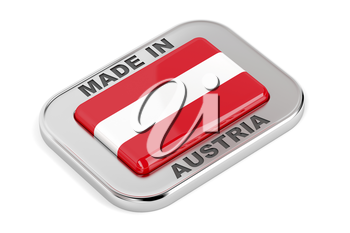 Silver badge Made in Austria with Austrian flag
