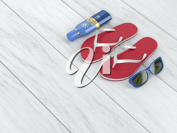 Flip-flops, sunscreen lotion and sunglasses on wood floor