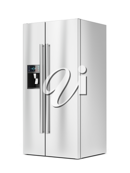 Big refrigerator with ice and water dispenser on white background