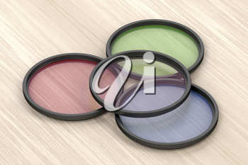 Four different photographic filters on wood background