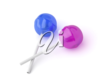 Blue and pink lollipops on white background