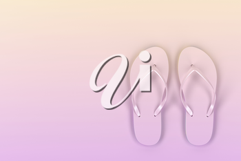 A pair of flip-flops on yellow-pink background, top view