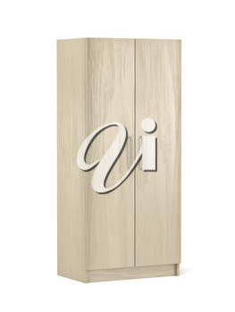 Wooden wardrobe on white background