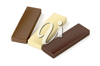 White, brown and dark chocolate wafers on white background