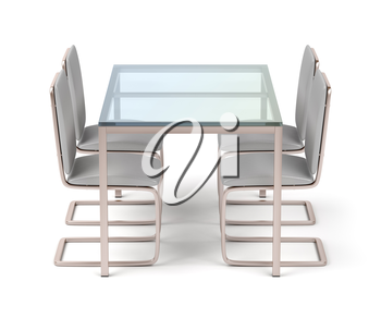 Dining table and four chairs on white background