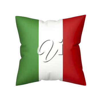 Pillow with the flag of Italy isolated on white background