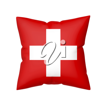 Pillow with the flag of Switzerland isolated on white background