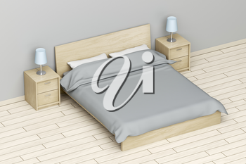 Modern bedroom with queen size bed and nightstands