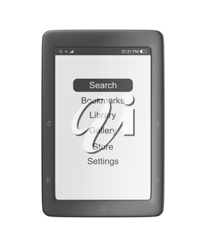 Front view of e-book reader, isolated on white background