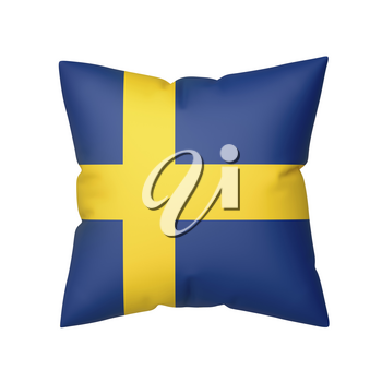 Pillow with the flag of Sweden, isolated on white background