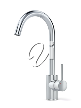 Chrome faucet on white background