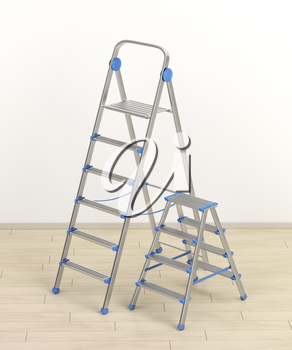 Aluminum ladders with different sizes in the room