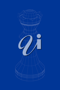 3d wire-frame model of queen chess piece