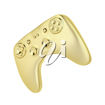 Golden gaming controller isolated on white background