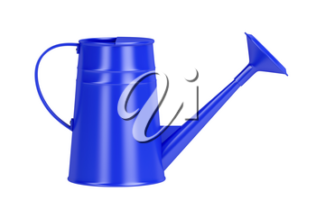 Blue watering can, isolated on white background