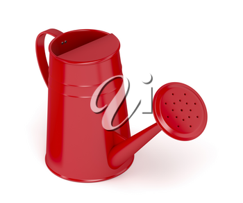 Red watering can on white background