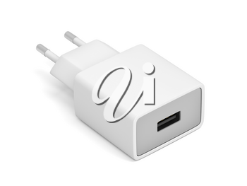 Smartphone power adapter with USB port on white background
