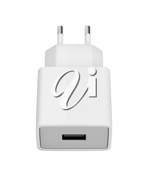 Smartphone power adapter with USB port isolated on white background