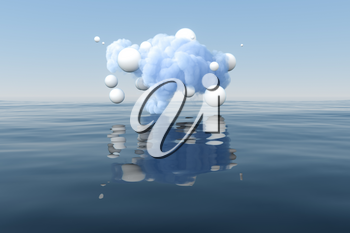 Cloud and geometric figure floating on the lake, 3d rendering. Computer digital drawing.