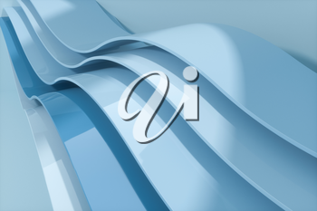 Blue curve surface, bright business background, 3d rendering. Computer digital drawing.