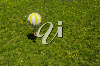 Flying hot-air balloon over the grass field, 3d rendering. Computer digital drawing.