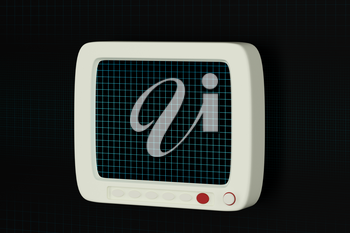 The monitor with black background,digital grid,3d rendering. Computer digital drawing.