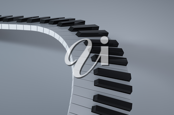 Piano keys with white background, 3d rendering. Computer digital drawing.