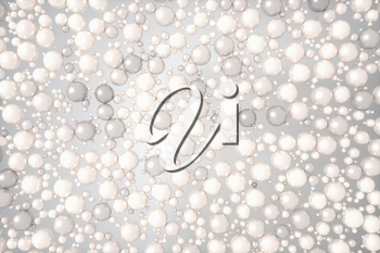 Pearls and bubbles with white background, 3d rendering. Computer digital drawing.
