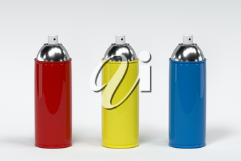 Spray can with white background, 3d rendering. Computer digital drawing.